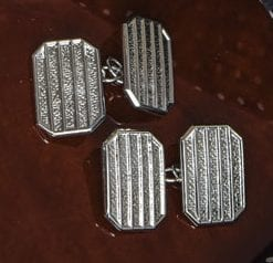 English craftsman-made sterling silver cufflinks: rectangular line-grid design, emerald-cut