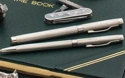Superb English sterling silver engine-turned William Manton fountain pen