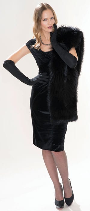The new fur fashions: gorgeous hand-crafted black fox fur stole