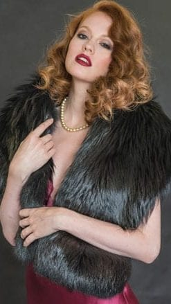 Luxurious, top-quality long black fox fur stole for instant haute couture style