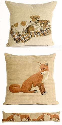 Fox and Terrier Cushion and Bolster Set
