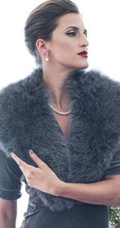 The New Fur Collection: Glamorous and subtle grey fox fur collar