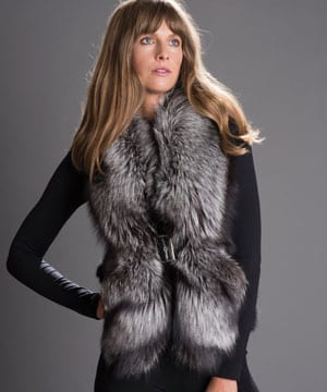 Contemporary haute couture silver fox and blue fox gilet