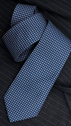 Stylish new pure silk blue and grey squared tie