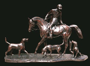 Limited edition bronze of Huntsman and Hounds, 'The Check'