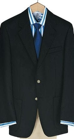 Stylish well-cut, hand-finished pure wool navy blazer by Magee of Ireland: single breasted