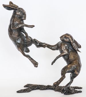 Limited edition bronze, 'Boxing Hares', a collector's item