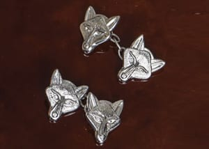 English craftsman-made sterling silver cufflinks: Fox Mask