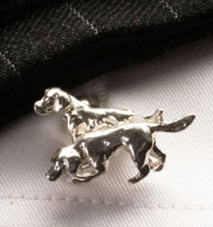 Handsome English sterling silver 'Hound Couple' cufflinks by Simon Kemp
