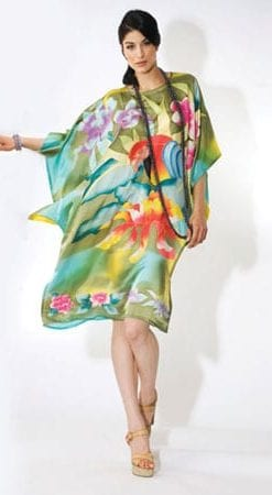 Gorgeous pure silk handGorgeous pure silk hand-painted Hawaiian Islands Tropical Parrot dress-painted Hawaiian Islands dress