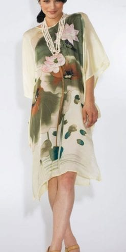 Dreamy pure silk Hawaiian Island hand-painted Pink Lotus Blossom dress