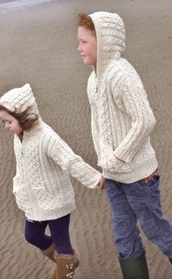 Stylish Irish knitted hooded zip cardigan-jacket for boys and girls: super-soft Merino wool, hand finished