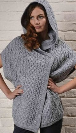Wool Power: Step into the season's Aran knits: Stylish hooded cape-jacket
