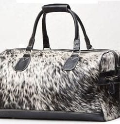 Ultra-cool hairy cowhide holdall for stylish getaways
