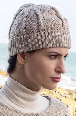 Irish Aran honeycomb knitted hat in soft Merino wool