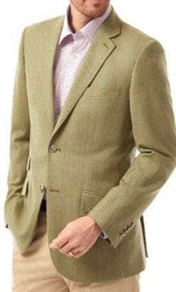 New season pure wool jackets by English tailors: Green-fawn herringbone with acorn stripe