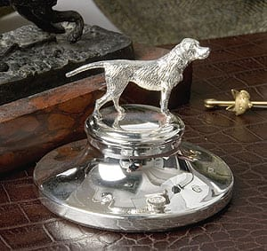 Sterling silver English foxhound paperweight