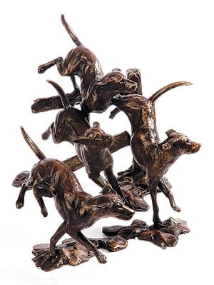 Bronze pack of hounds by Michael Simpson