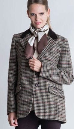 The New British Heritage: Richmond Jacket in handwoven pure wool Harris Tweed houndstooth with velvet trim