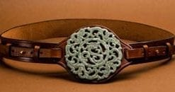The new fashion clincher: unique hand-carved jade and leather belt