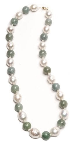 Gorgeous new Venetia Necklace in large baroque pearls, jade and 14ct gold