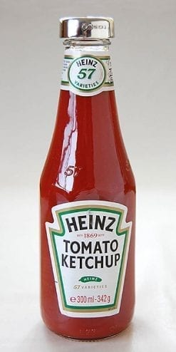English sterling silver-lidded Heinz Tomato Ketchup: standard 342g bottle