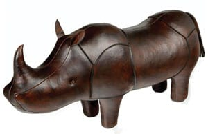Omersa leather animal footstools: the famous Super King Rhino