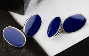 Sterling silver cufflinks inlaid with the semi-precious stone, lapis lazuli