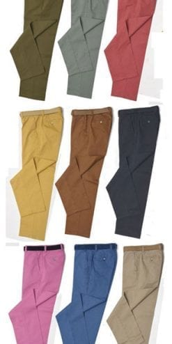 Smart men's chinos by English tailors Gurteen: two pairs