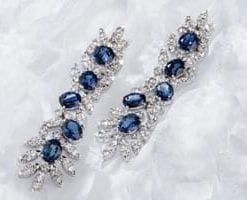 Exceptional blue sapphire, diamond and 18ct white gold earrings: Les Jardins de la Princesse