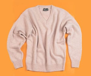 Stylish and warm pure lambswool v-neck sweater, designed and made in Italy