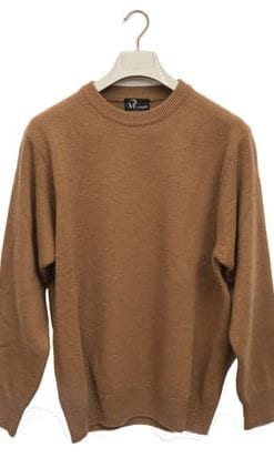 Stylish and warm pure lambswool crew-neck sweater, designed and made in Italy