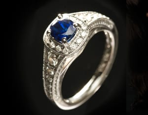 The stunning new Lady Windermere ring from Hatton Garden: Ceylon sapphire and diamonds: save over £2,800