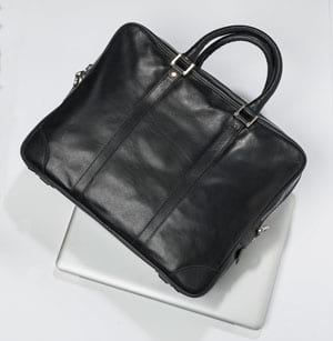 Handsome handmade black leather Massimo briefcase: save over 50%