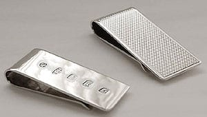 Silver money clip for folded bills