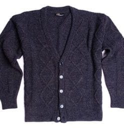 Stylish new cable knit alpaca blend cardigan, designed and made in Italy