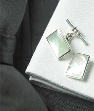 Mother-of-pearl and silver cufflinks for a mere £19