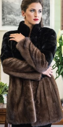 The New Fur Collection: Fabulous mink coat in black and demi-buff