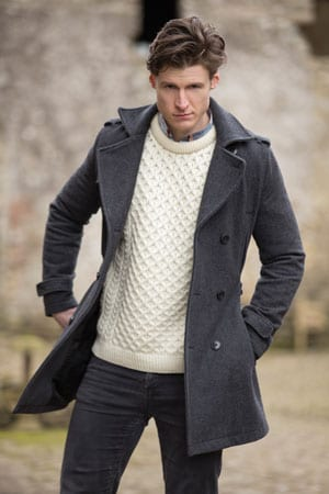 Soft, stylish and warm: pure merino Aran crew neck from Irealnd: a snip at only £49