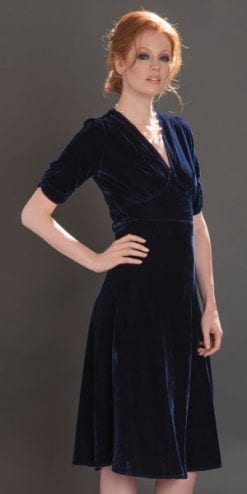 Prepare for the party season: the fabulous Mae Dress in midnight silk velvet from the new Nancy Mac Blue For You collection