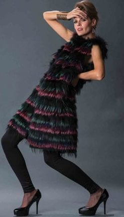 Haute Collection: Opulent Fur: Fabulous long designer cobalt and magenta fox fur gilet