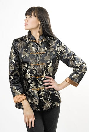 Pure silk hand-embroidered brocade jacket