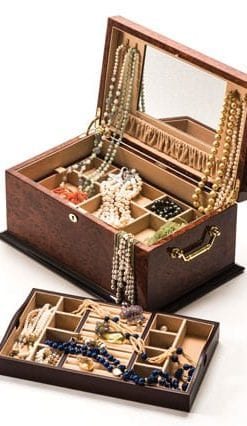 Highly-polished fine makah burl wood jewellery chest by Hillwood