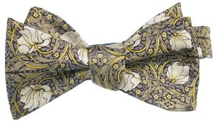 Artists in the garden: new silk bow ties, self tie: William Morris 'Pimpernel' from the V&A