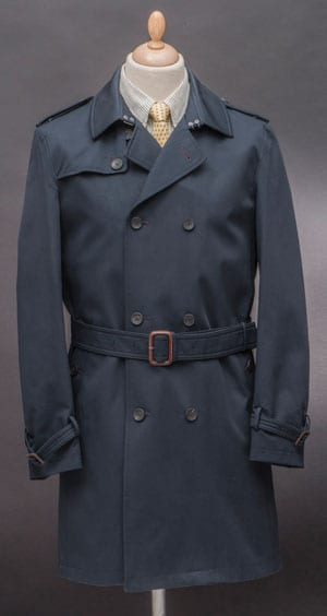 The ultimate outer layer, and this classic-fit navy double-breasted trench coat for all seasons