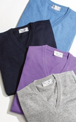 Italian cashmere-silk men's v-neck jumper in many colours, a snip at only £39