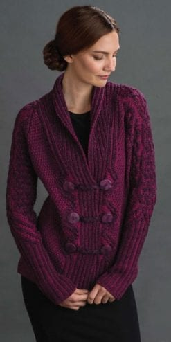 Fabulous soft double-breasted jacket-cardigan in pure merino wool Aran style