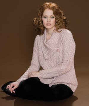Scene-stealing and luxurious: stylish new double-neck Aran cardigan-jacket in soft Merino wool