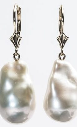 Beautiful large natural baroque pearl earrings on 14ct gold