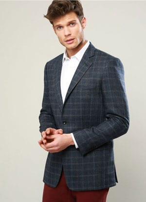 Well-cut and tailored new Blue, Camel and Grey Wool Jacket by Magee: save over £100